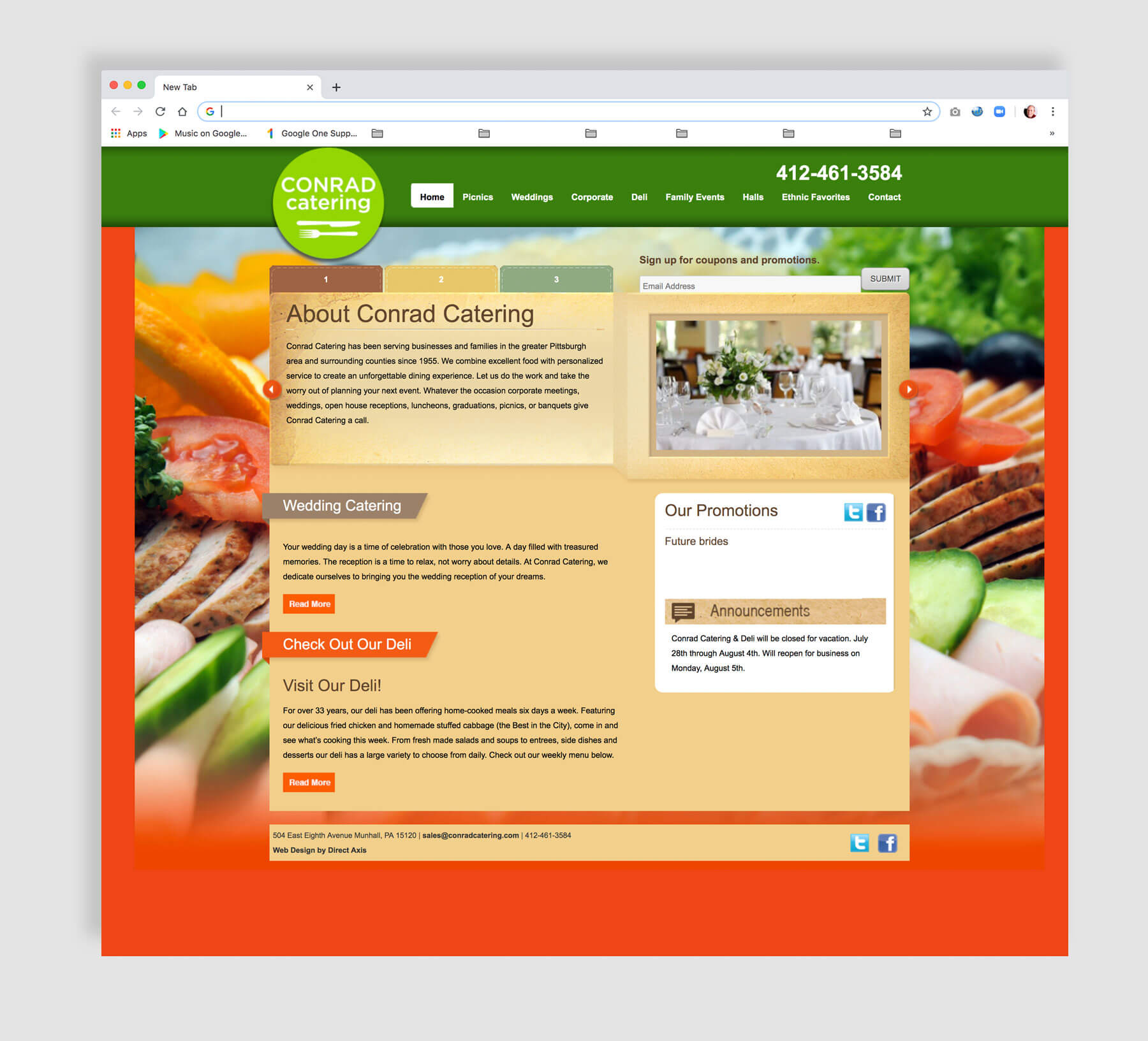 Website design for a catering business