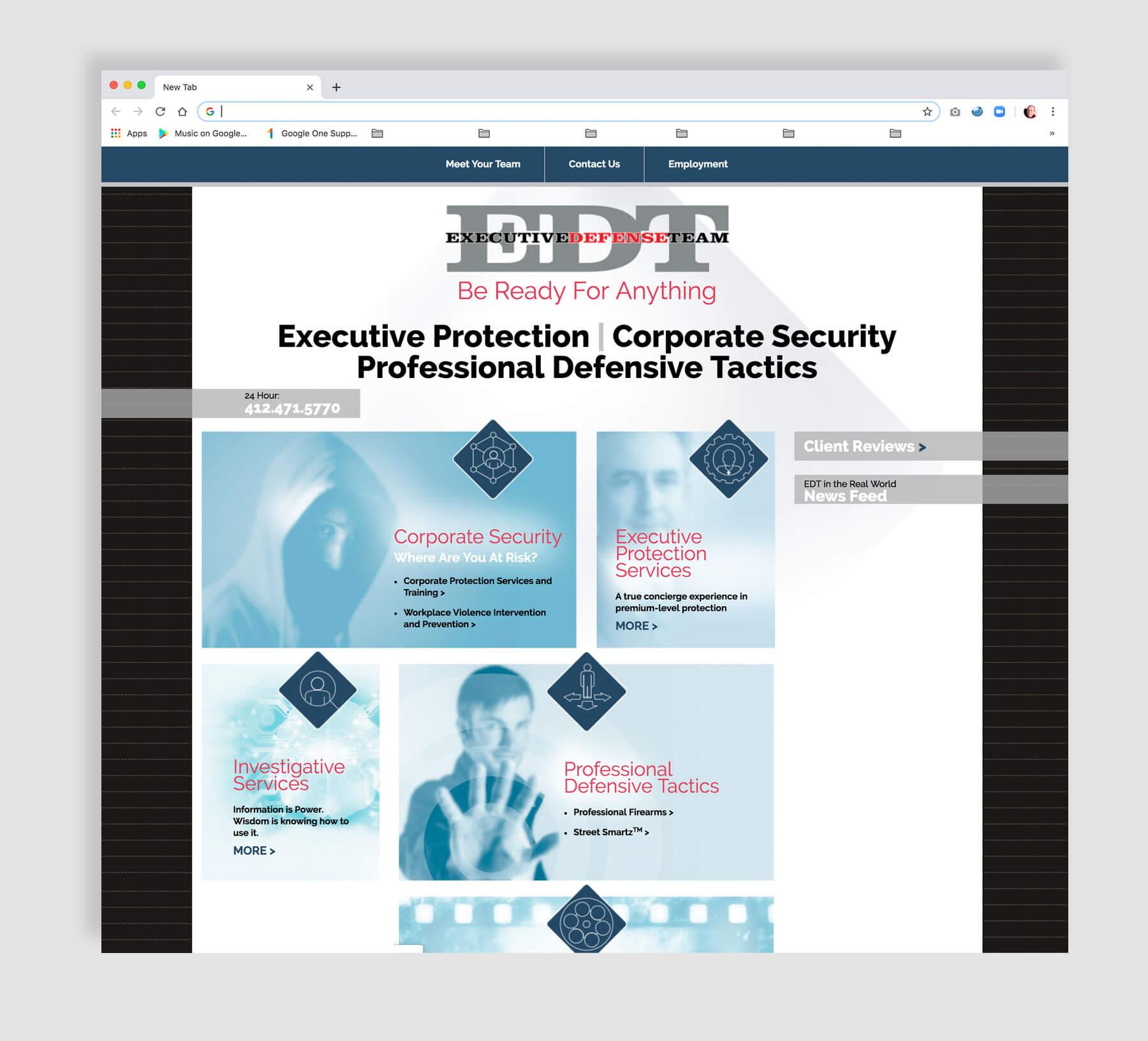 Corporate security website design