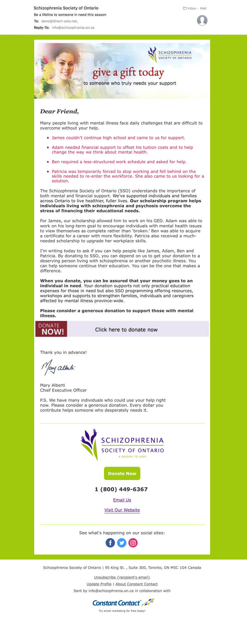 Email blast for matching direct mail campaign