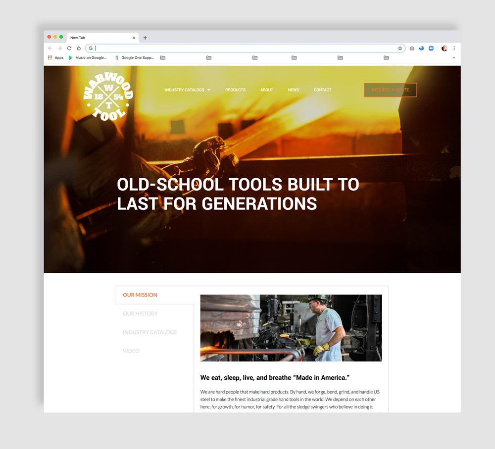 Warwood Tool Industrial Website Home Page
