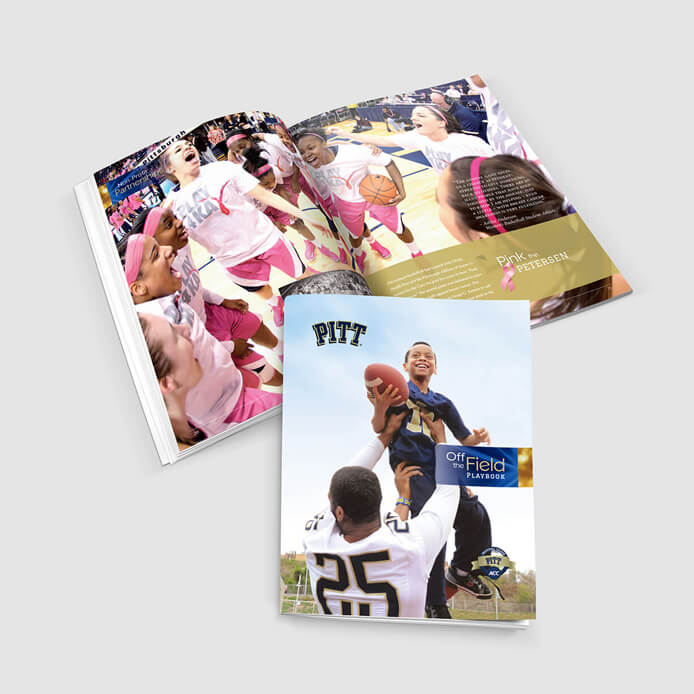 Pitt Athletics playbook graphic design example
