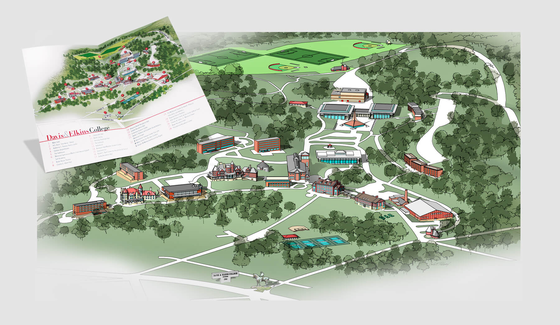 Campus map illustration and brochure design