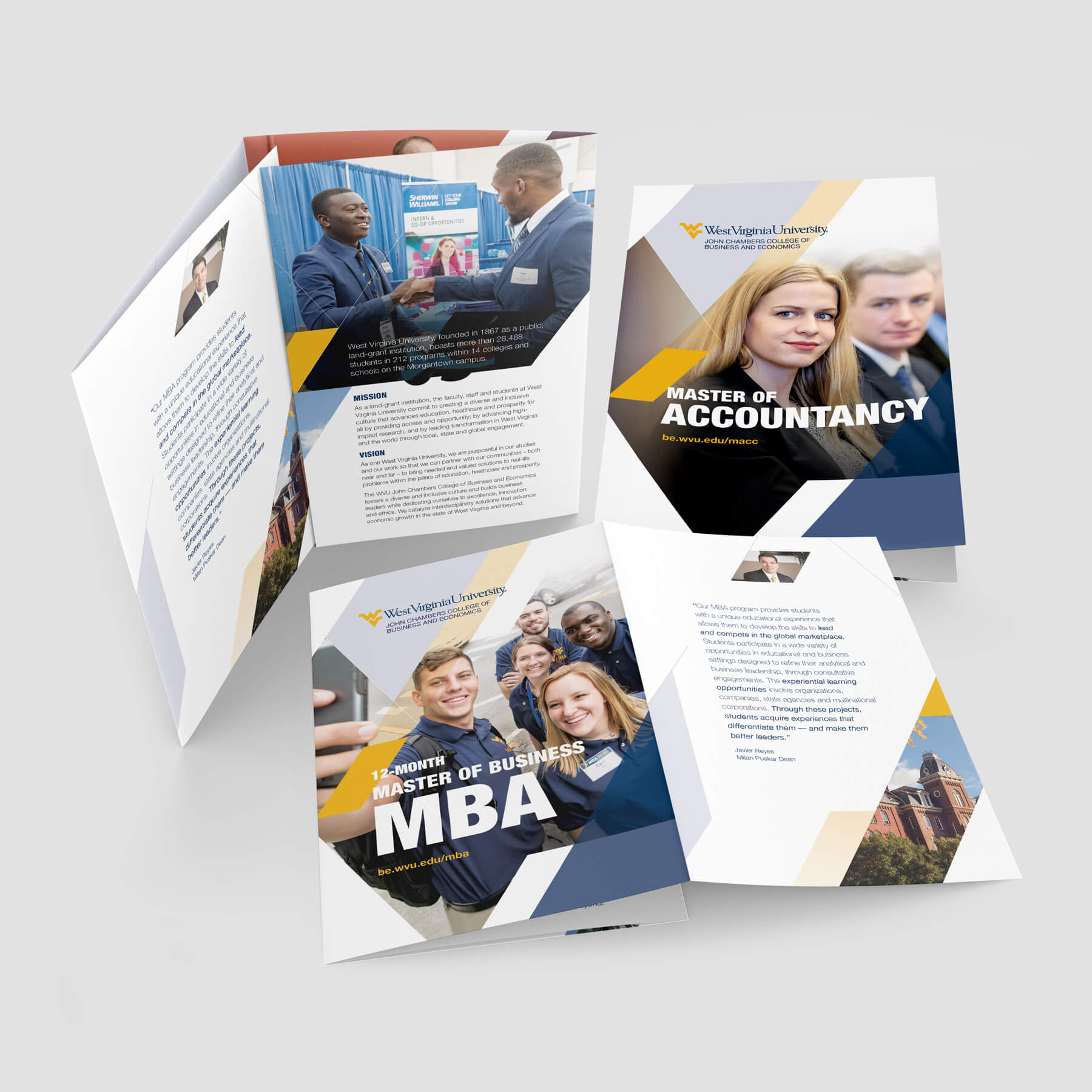 College brochure designs for MBA program