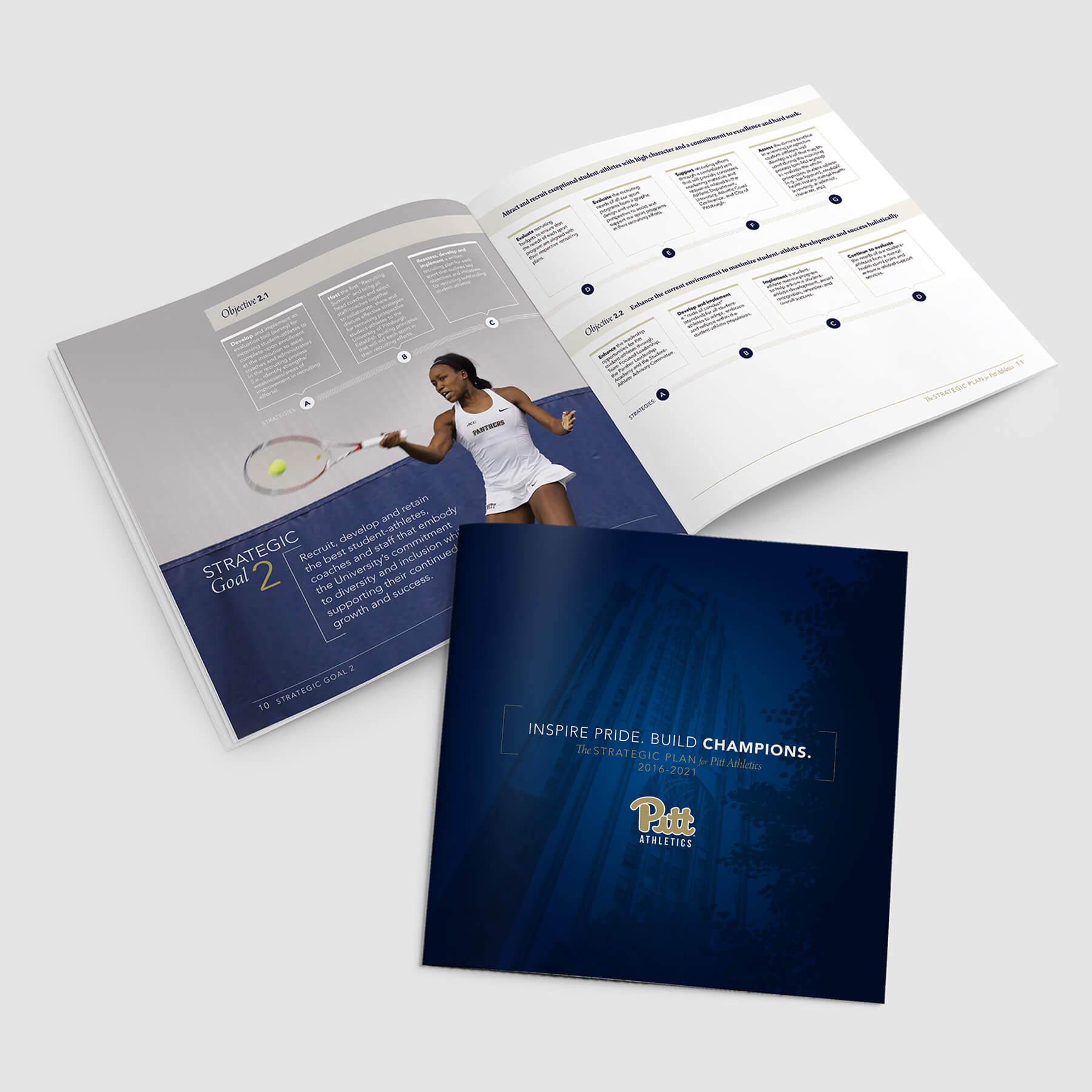 Graphic design for Pitt Athletics strategic planning guide