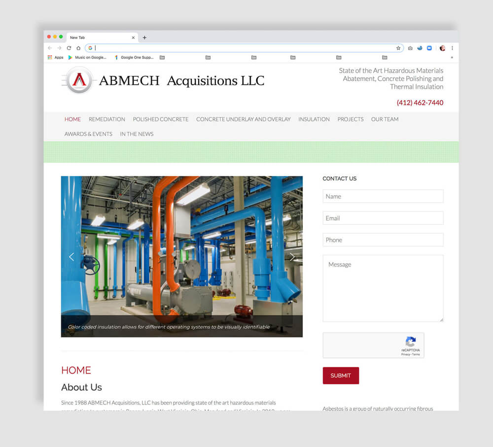 Home web page design for an industrial business
