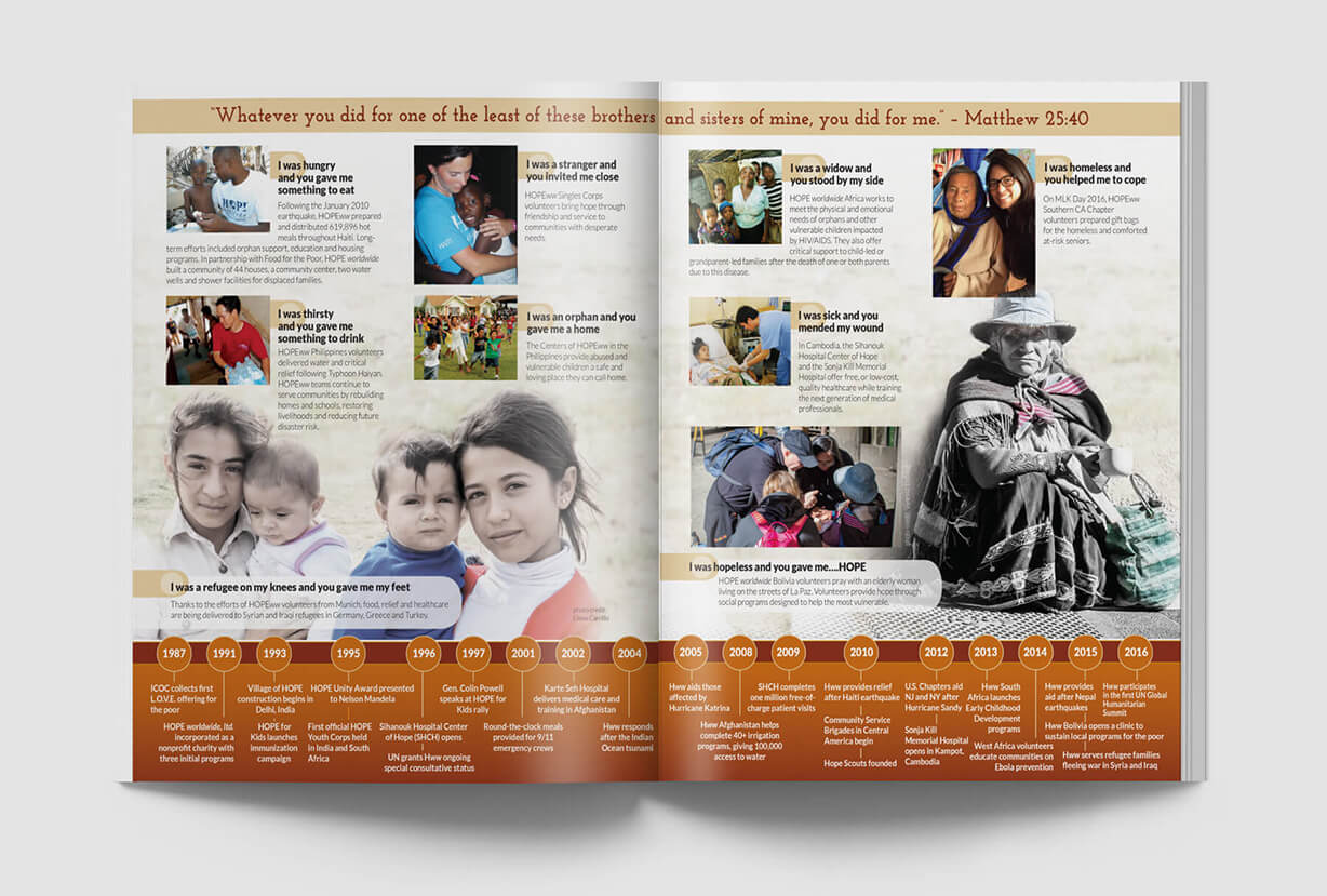 Newsletter design for a disaster relief and world poverty nonprofit