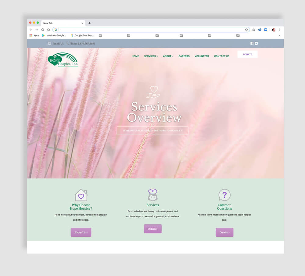 Web design sample for a nonprofit hospice
