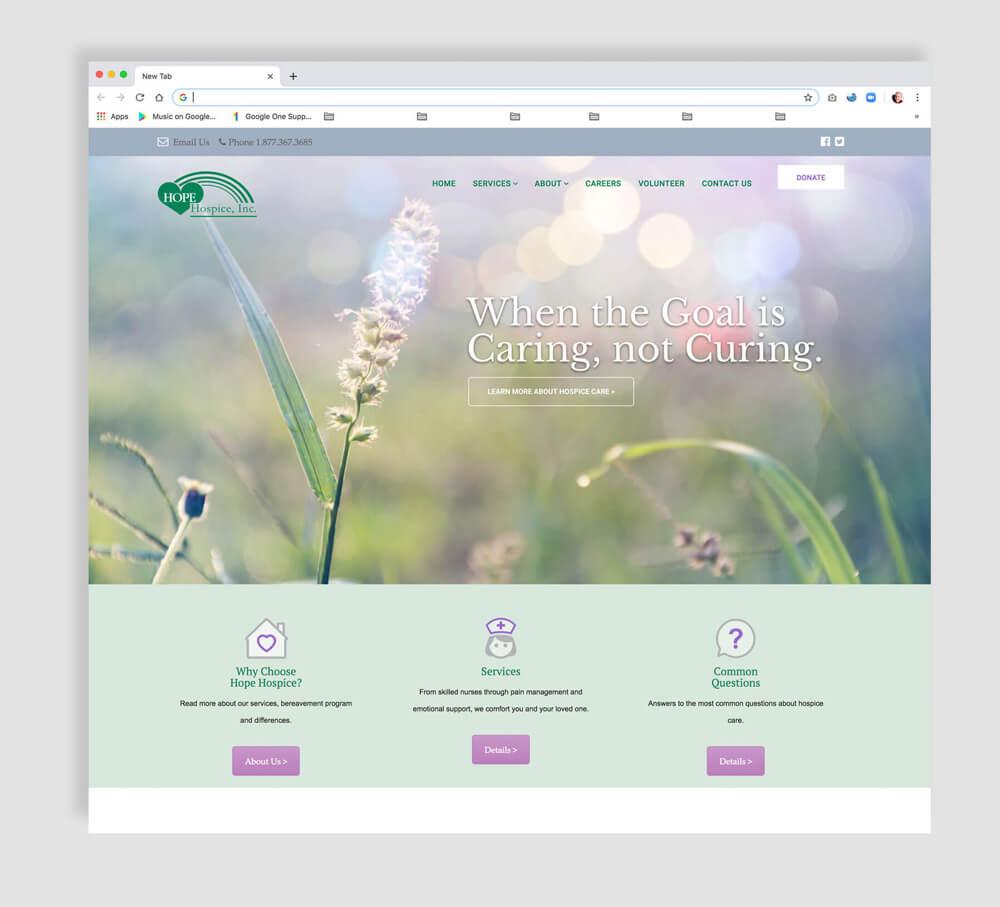 Hospice web design - home page