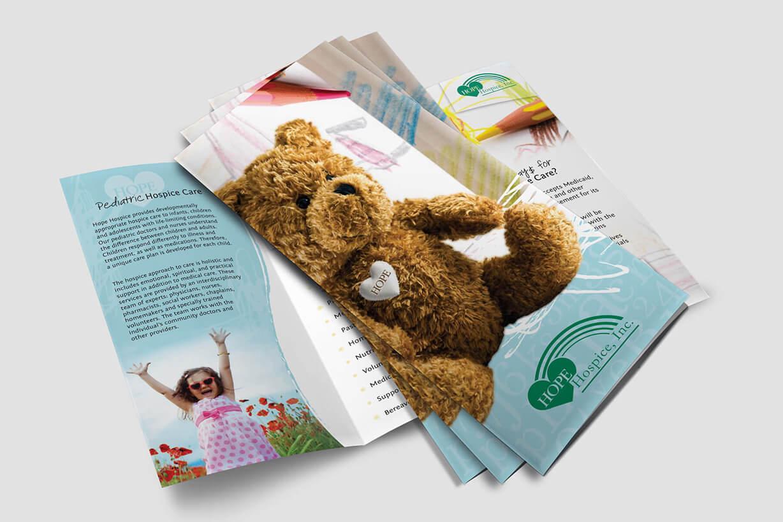 Pediatric hospice brochure graphic design sample