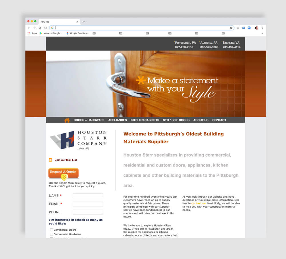 Building Materilas web page design and programming