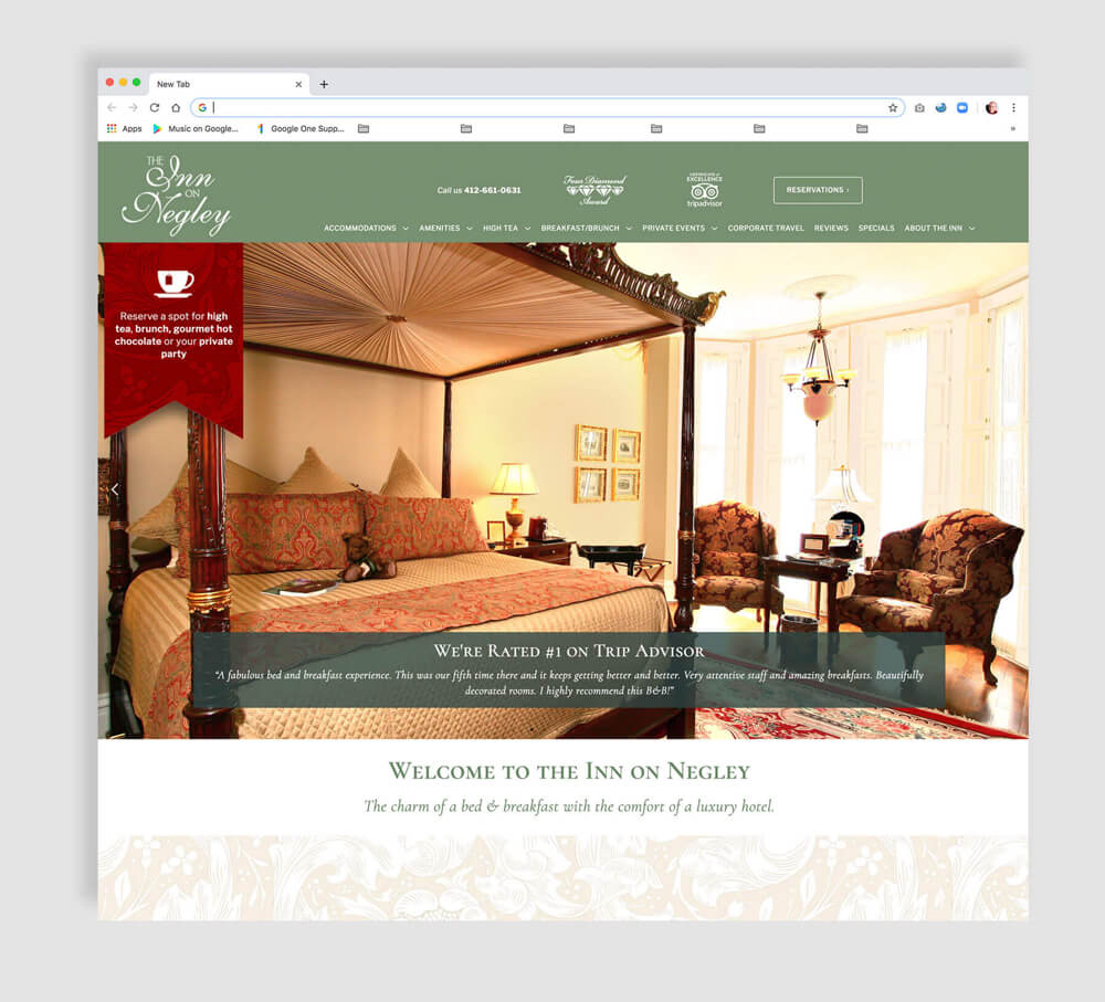 Luxury hotel web design home page sample