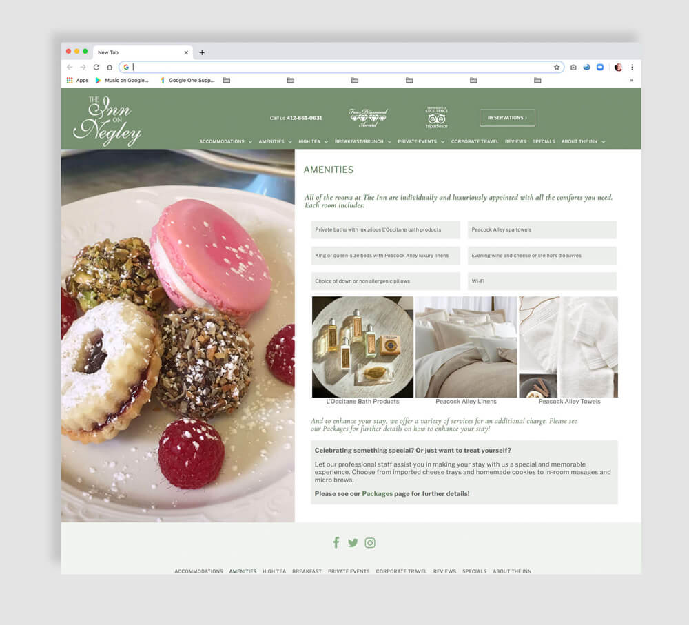 Luxury inn amenities page web design
