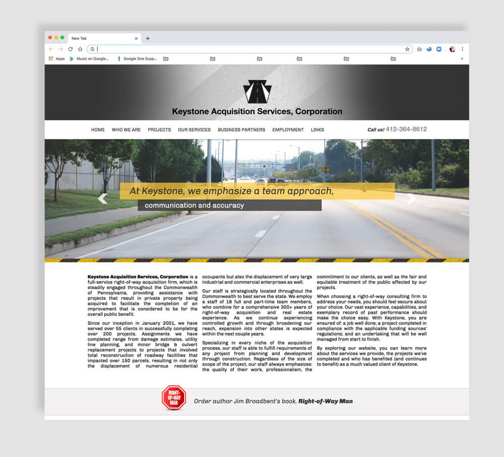Civil projects web design home page example