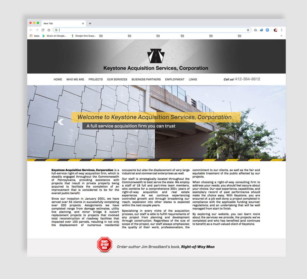 Civil projects web home page design example