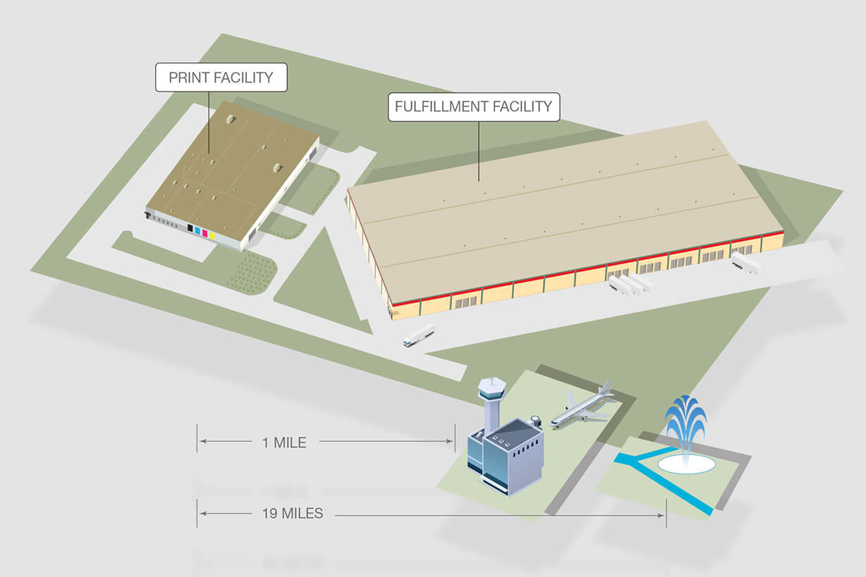 Line art illustration of manufacturing facility