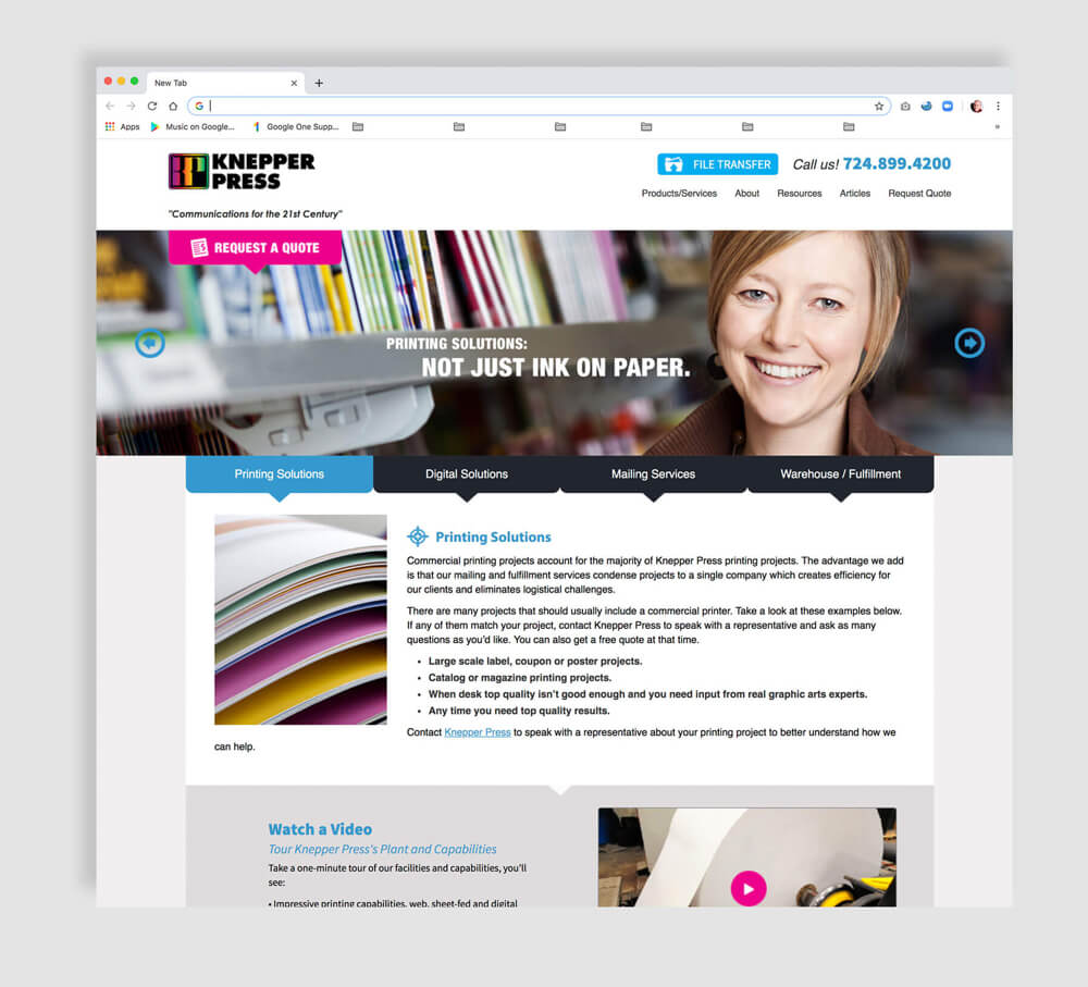 Large regional printer's web design for home page