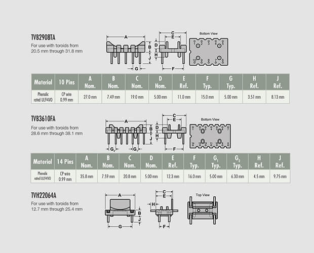 Technical drawings of electronic parts