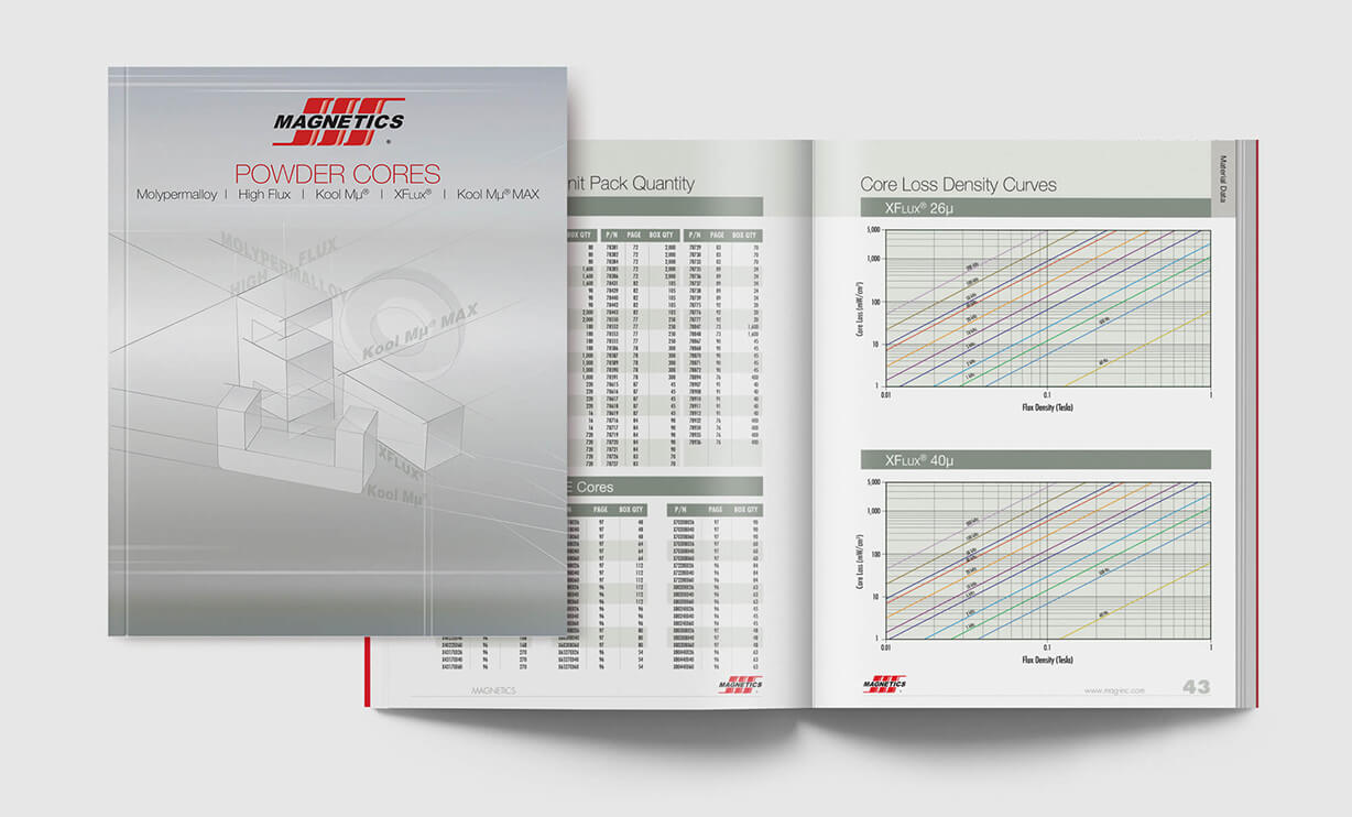 Industrial multi-page catalog design with charts, graphs and line art