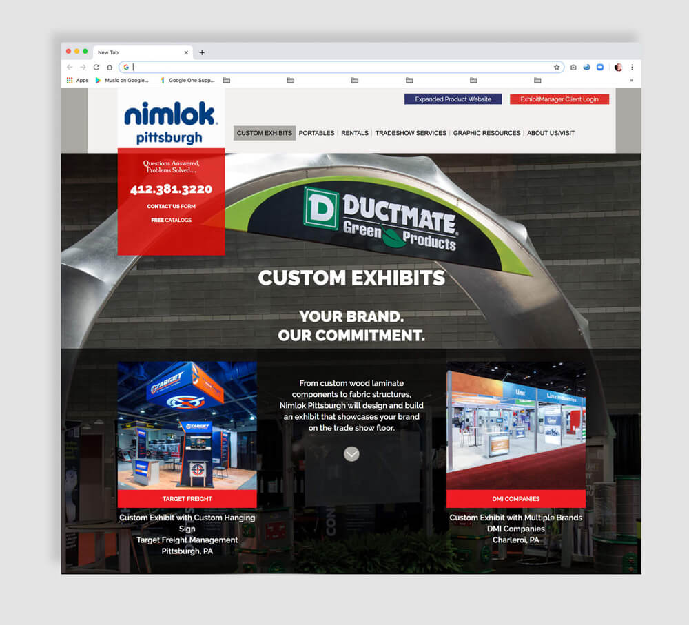 Custom website for a display company