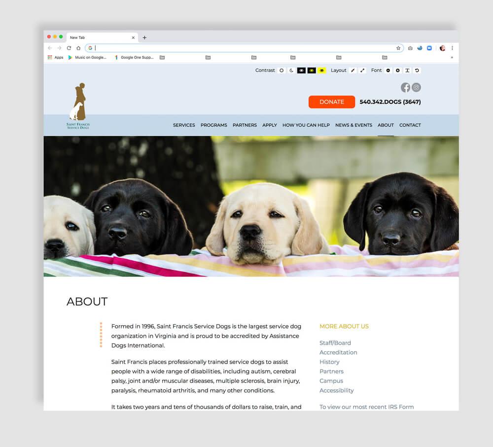 Nonprofit web design interior page sample