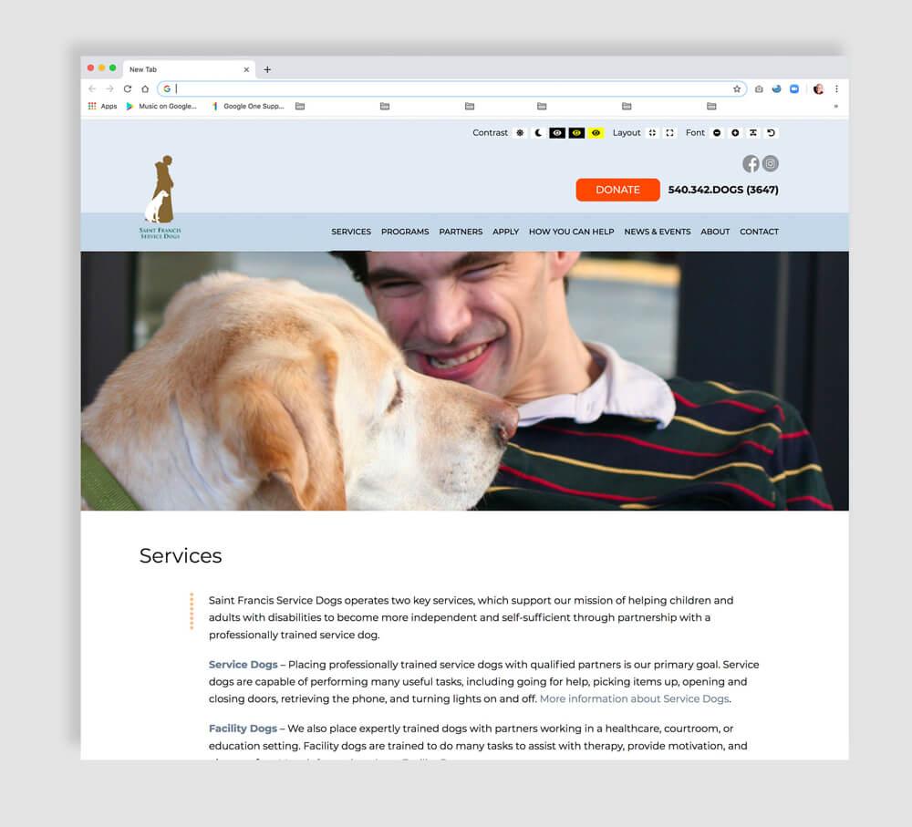Interior web page design for a nonprofit