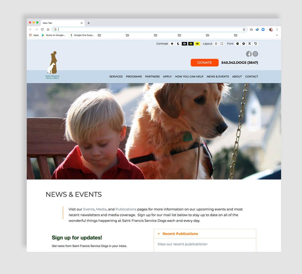 Nonprofit web design interior page sample. ADA compliant