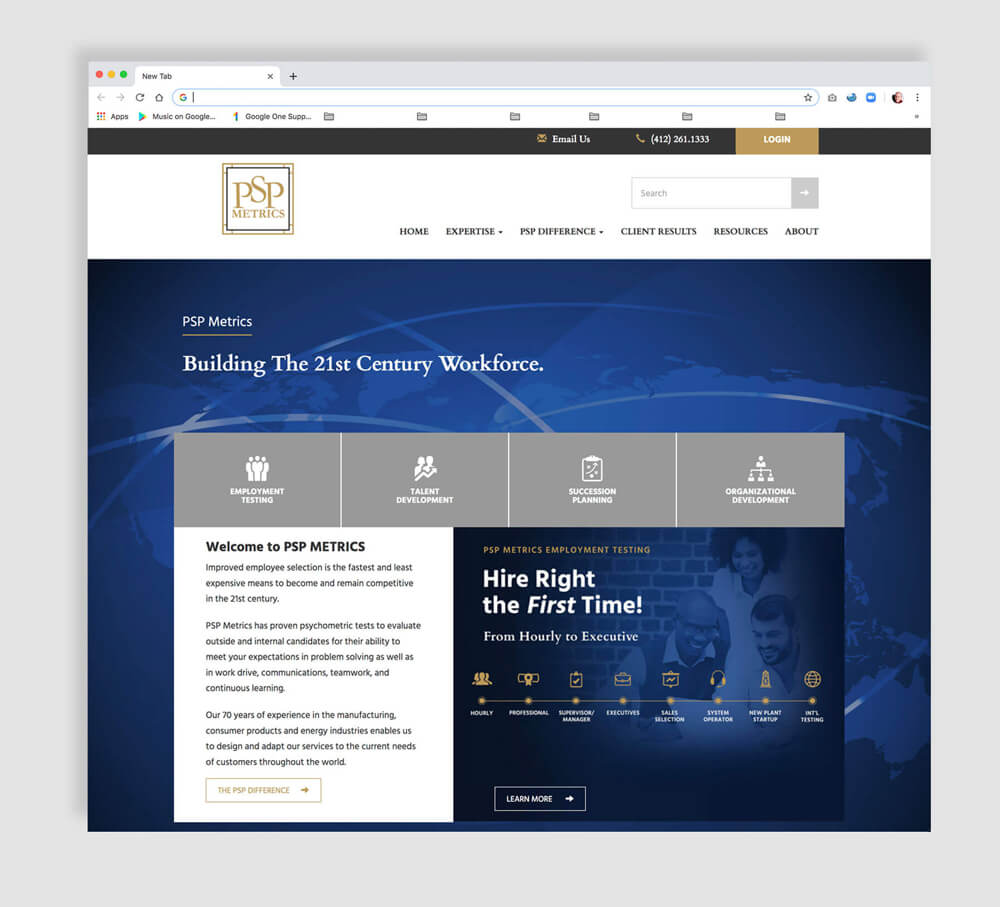 Home page web design for a human resources company