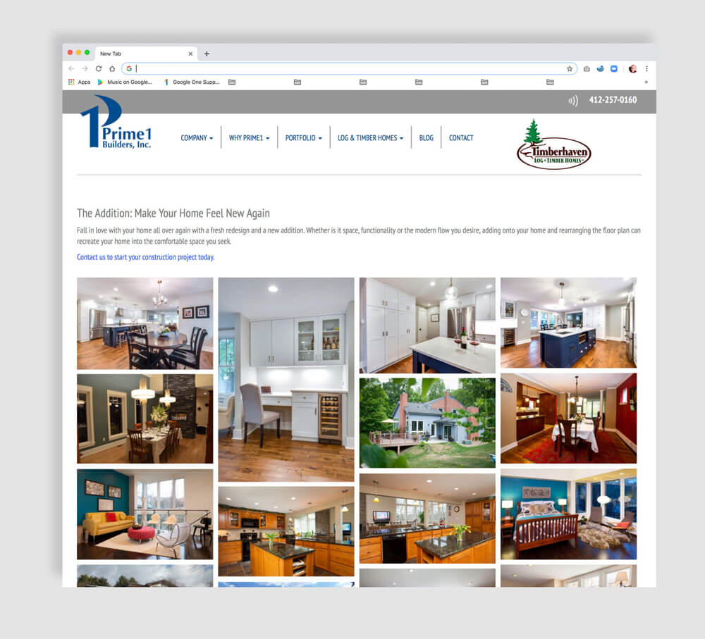 Sample gallery of images for home improvement web page
