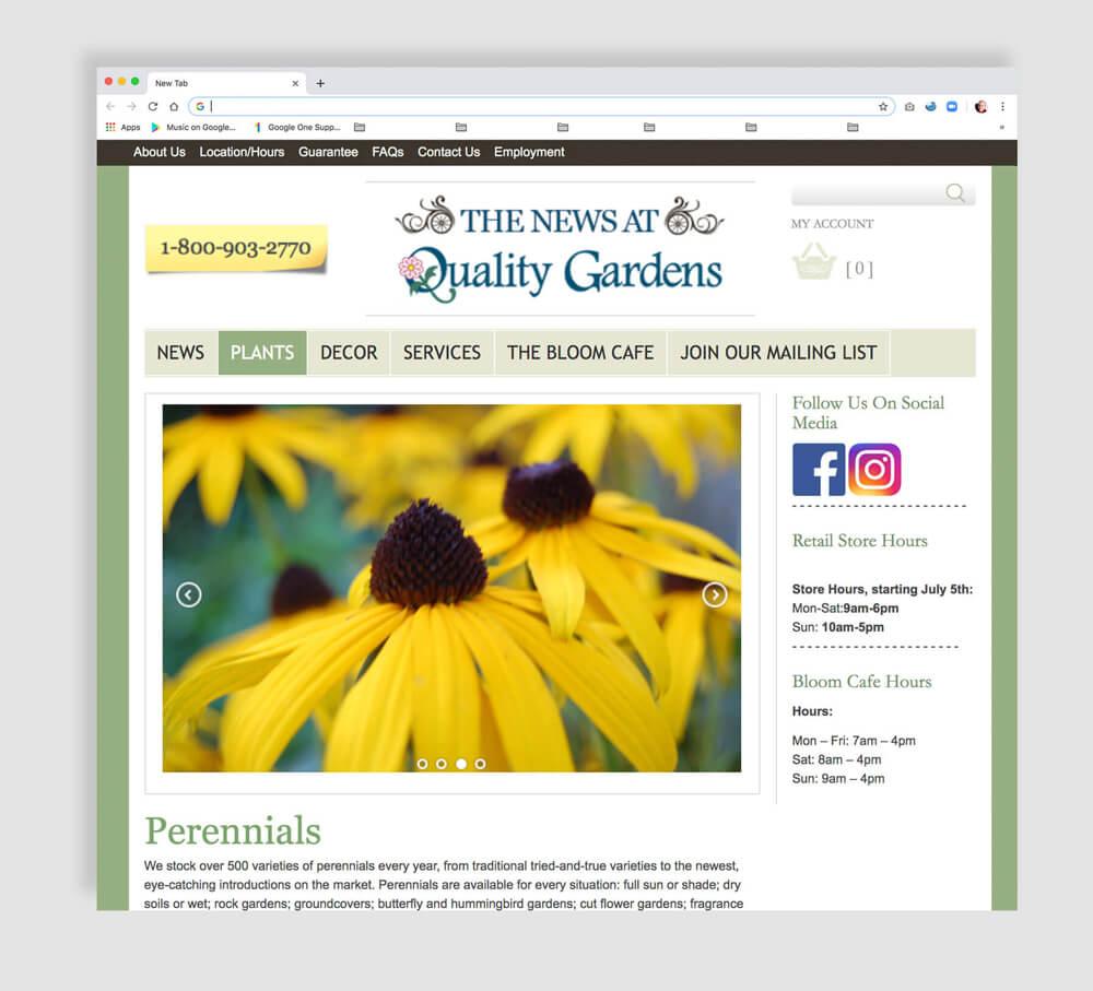 lovely web design for a garden retailer