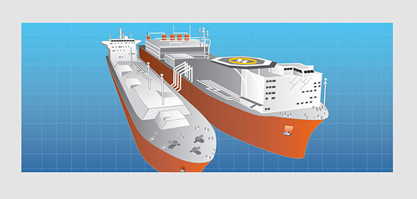 Line art illustration of oil and gas cargo ships