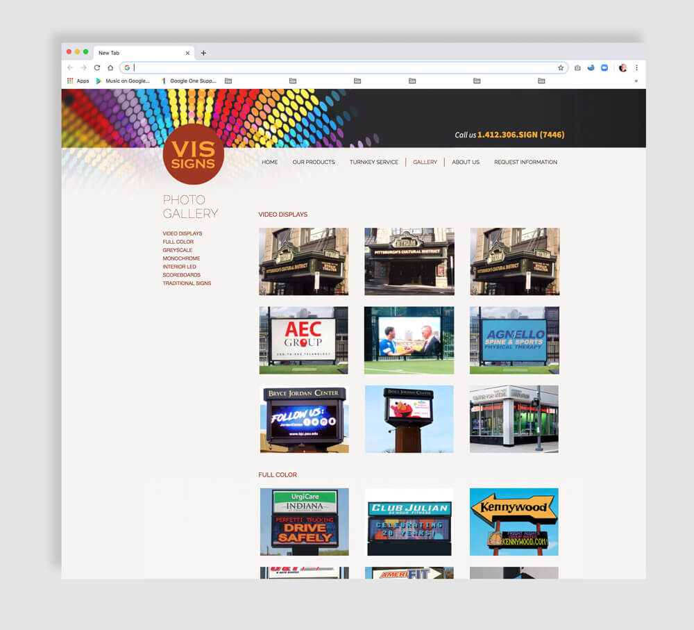 Web gallery for a sign maker