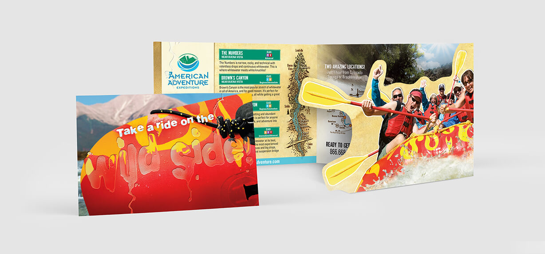 Fun brochure design example with die cut panels