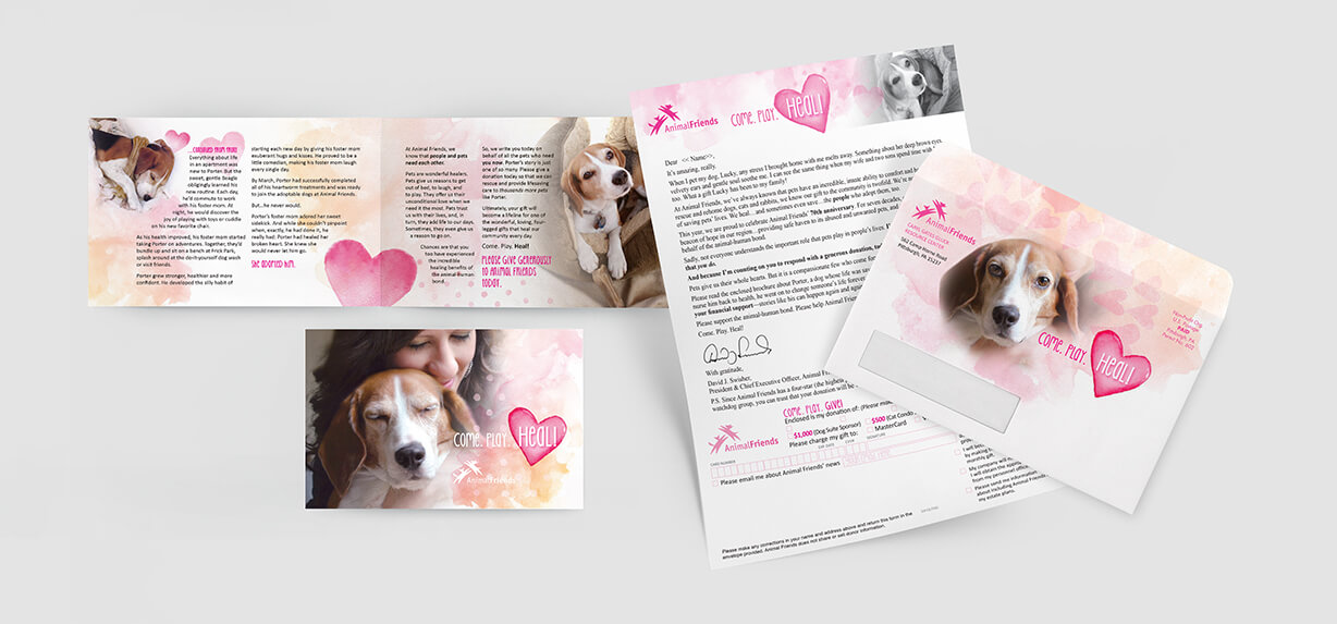 Loving images of a woman and her dog adorn this direct mail solicitation