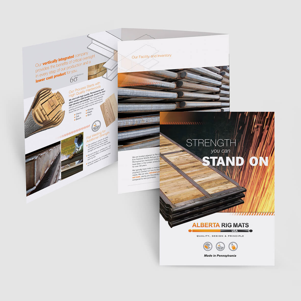 Industrial pocket folder design with heavy-duty steel and wood products