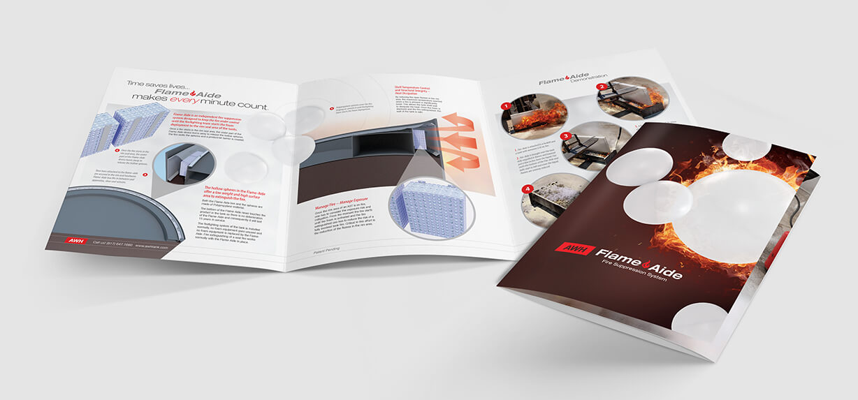 Industrial brochure design showing fire-suppression systems for large oil and gas storage tanks
