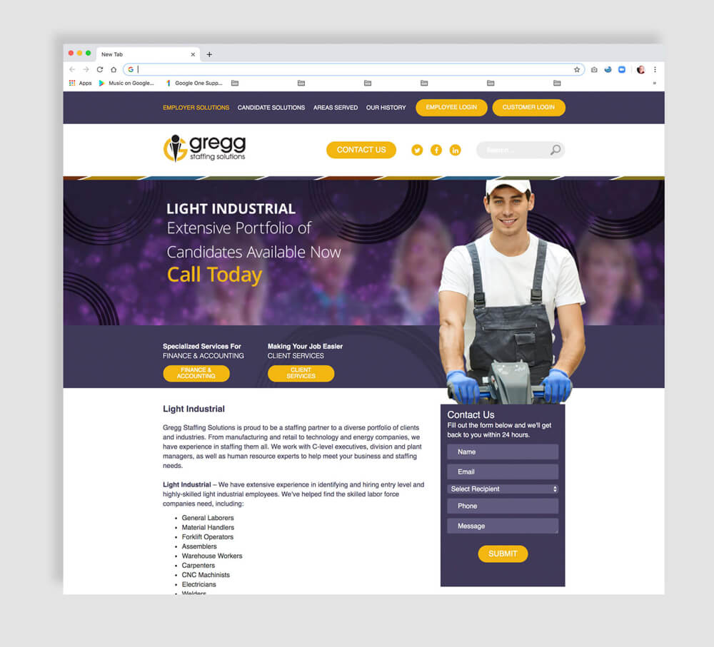 Web design for a staffing agency