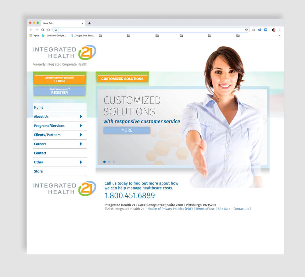 Web home page for a healthcare provider