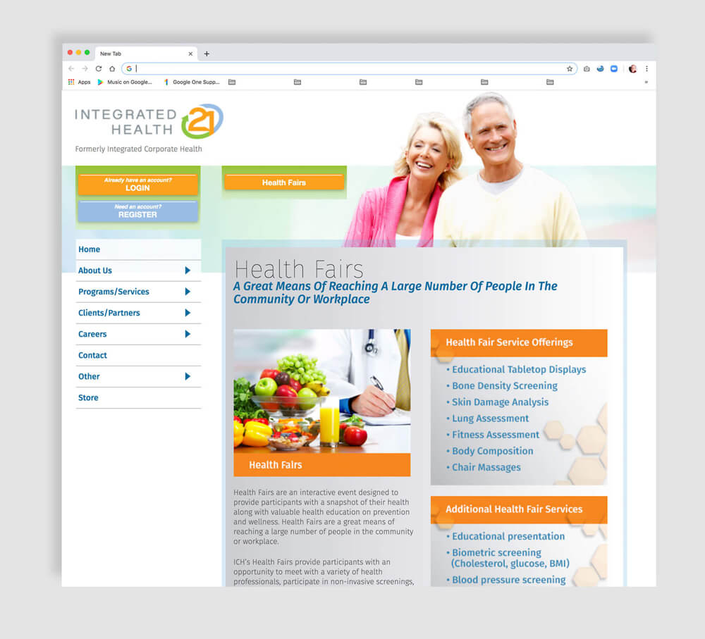 Web design interior page for healthcare business