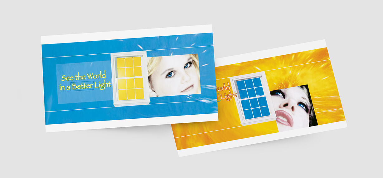 Colorful oversized postcard design for window manufacturer