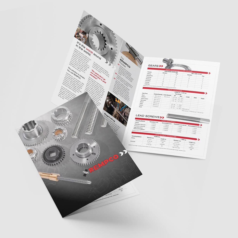 Industrial brochure design sample with lead screws and gears