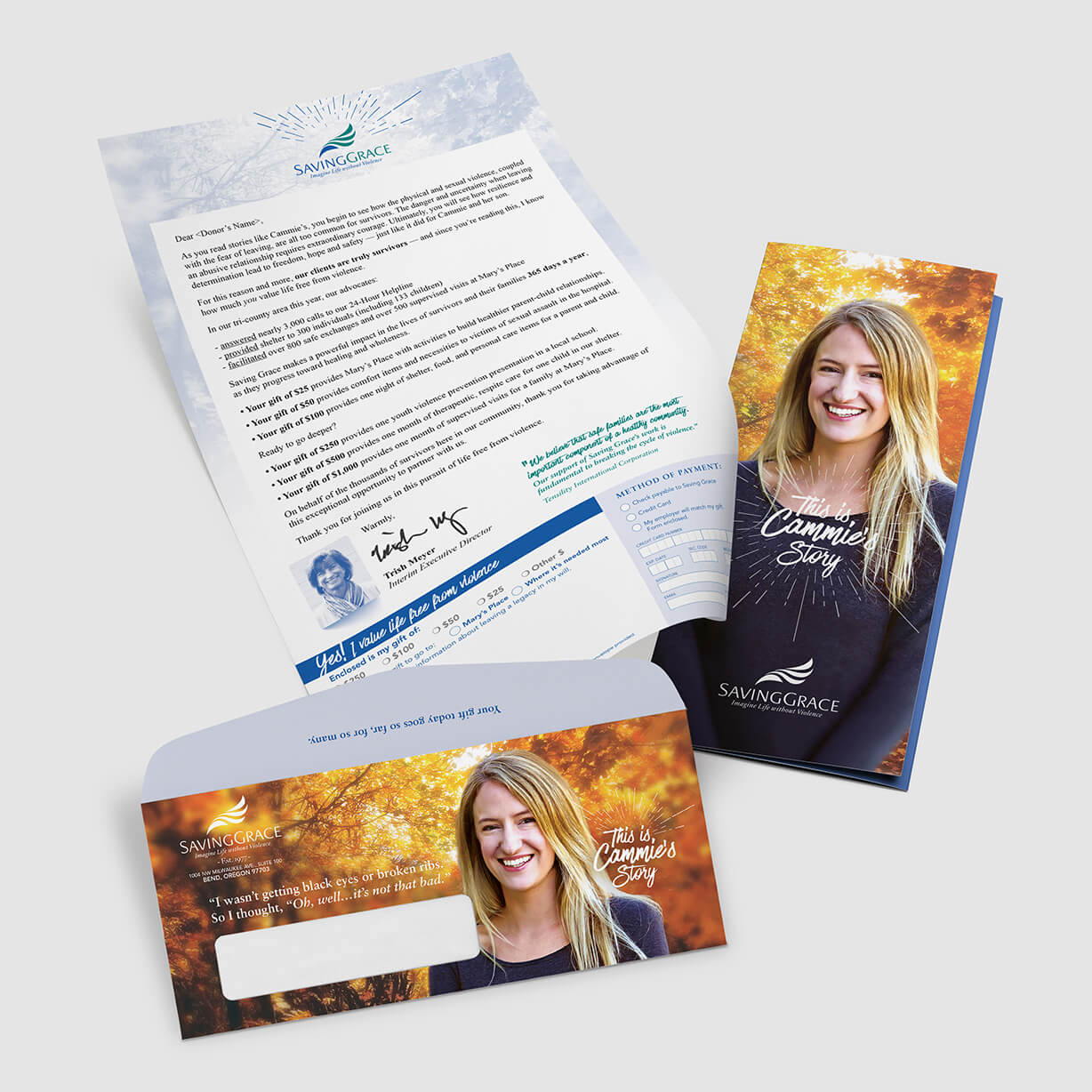 Fundraiser direct mail for a women's shelter