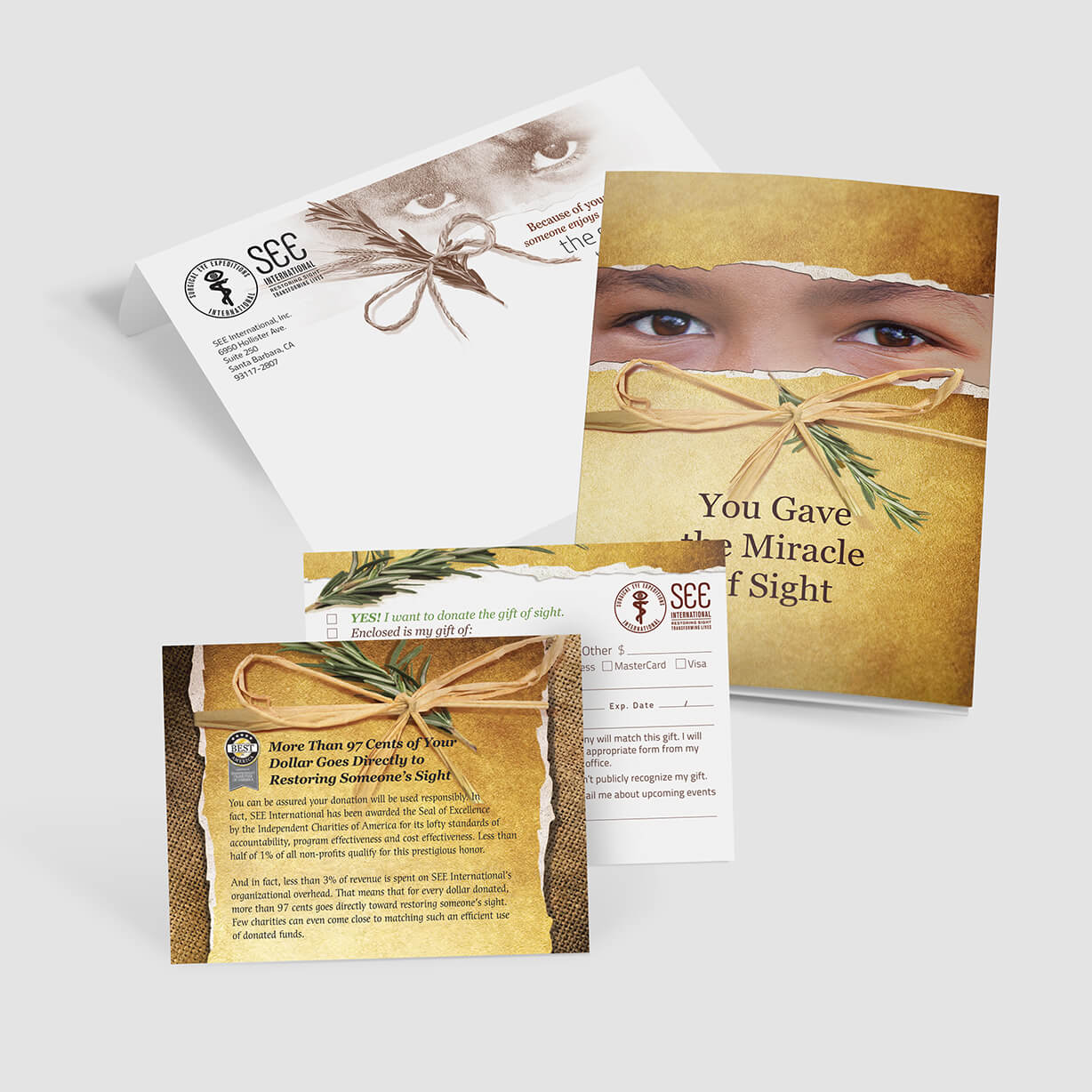 Mailer soliciting donations for international vision organization