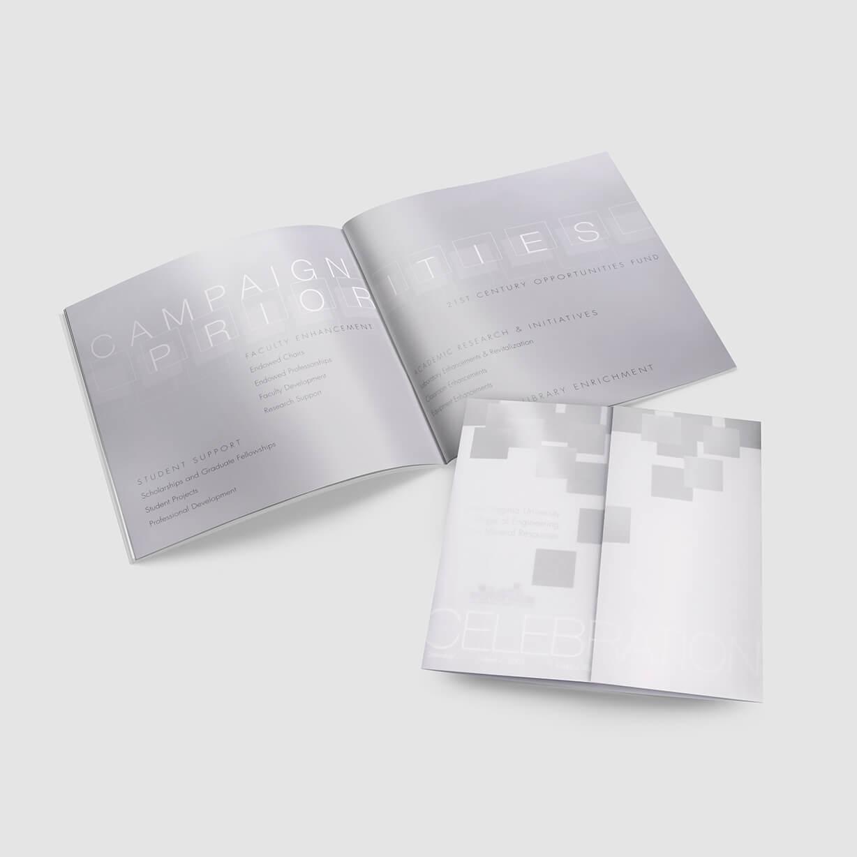 Brochure design for a college capital campaign