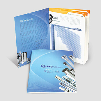 Graphic design for steel manufacturer's catalog of product specifications
