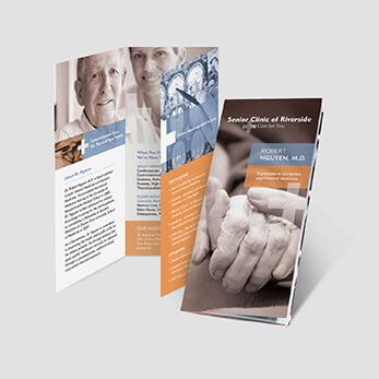 Healthcare clinic brochure design for geriatrics and internal medicine