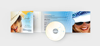 Brochure and DVD holder for nonprofit whose goal it is to eradicate skin cancer