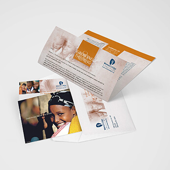 Direct mail donor solicitation package for women's cause