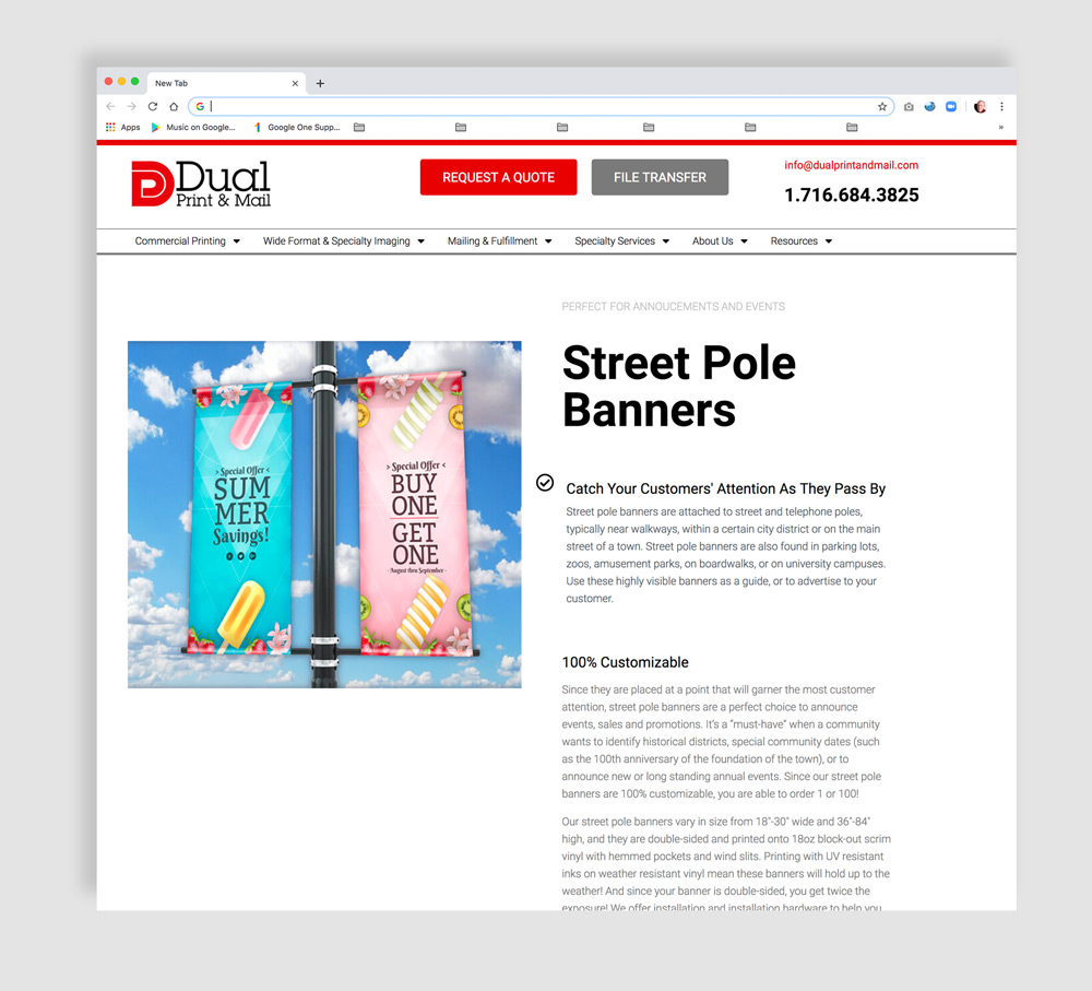 Interior web page design showing street pole banners