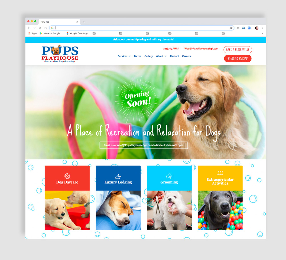 Home Page Web Development and Design for a Doggie Daycare Facility