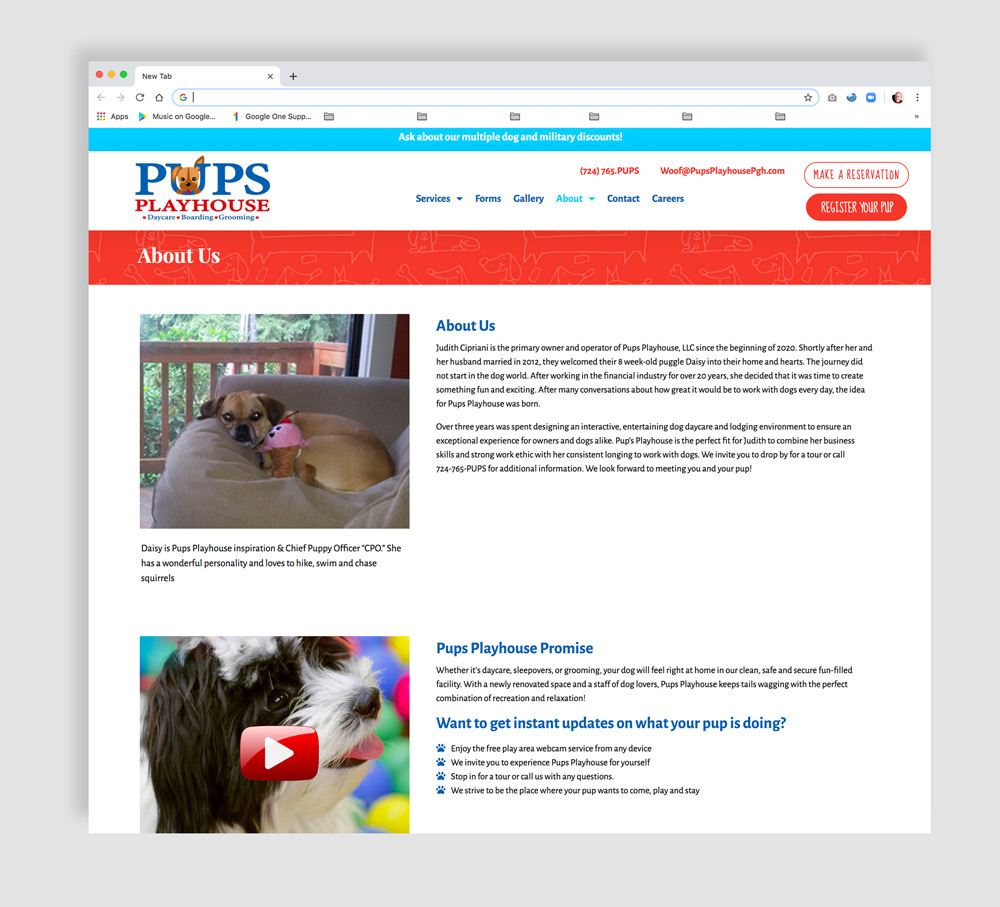 Web design for doggie daycare facility